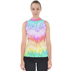 Rainbow Pontilism Background Mock Neck Shell Top