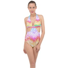 Rainbow Pontilism Background Halter Front Plunge Swimsuit by Sapixe