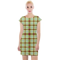 Geometric Tartan Pattern Square Cap Sleeve Bodycon Dress