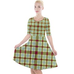Geometric Tartan Pattern Square Quarter Sleeve A Line Dress by Sapixe