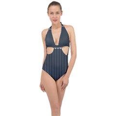 Pinstripe In Diamond Head Pins Pattern Halter Front Plunge Swimsuit