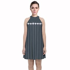 Pinstripe In Diamond Head Pins Pattern Velvet Halter Neckline Dress