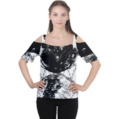 Moon And The Stars Pattern Cutout Shoulder Tee