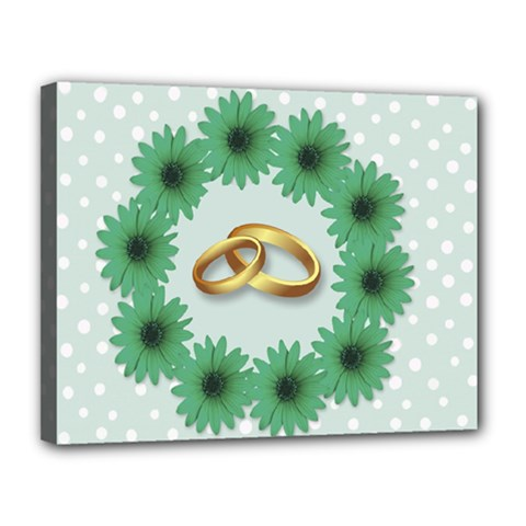 Rings Heart Love Wedding Before Canvas 14  X 11  (stretched)
