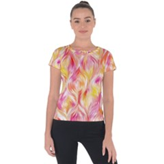 Pretty Painted Pattern Pastel Short Sleeve Sports Top
