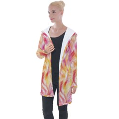 Pretty Painted Pattern Pastel Longline Hooded Cardigan
