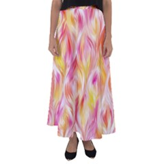 Pretty Painted Pattern Pastel Flared Maxi Skirt