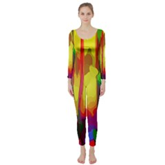 Abstract Vibrant Colour Botany Long Sleeve Catsuit