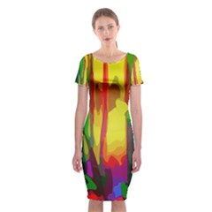Abstract Vibrant Colour Botany Classic Short Sleeve Midi Dress by Sapixe
