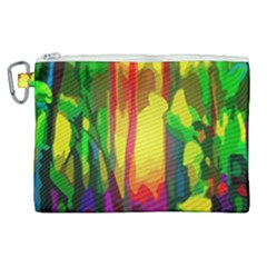 Abstract Vibrant Colour Botany Canvas Cosmetic Bag (xl) by Sapixe