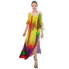 Abstract Vibrant Colour Botany Maxi Chiffon Cover Up Dress by Sapixe