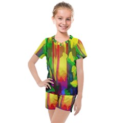Abstract Vibrant Colour Botany Kids  Mesh Tee And Shorts Set by Sapixe