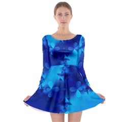 Background Course Gradient Blue Long Sleeve Skater Dress