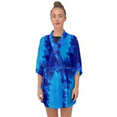 Background Course Gradient Blue Half Sleeve Chiffon Kimono