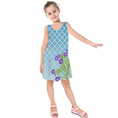 Morning Glory Argyle (blue Sky) Pattern Kids  Sleeveless Dress by emilyzragz