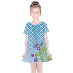 Morning Glory Argyle (blue Sky) Pattern Kids  Simple Cotton Dress by emilyzragz