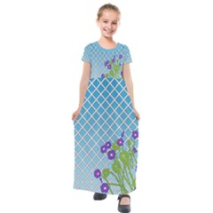 Morning Glory Argyle (blue Sky) Pattern Kids  Short Sleeve Maxi Dress by emilyzragz