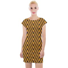 Chevron Brown Retro Vintage Cap Sleeve Bodycon Dress