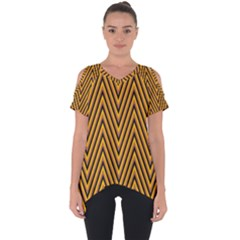 Chevron Brown Retro Vintage Cut Out Side Drop Tee