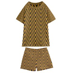 Chevron Brown Retro Vintage Kids  Swim Tee And Shorts Set