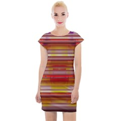 Abstract Stripes Color Game Cap Sleeve Bodycon Dress