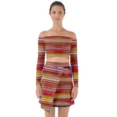 Abstract Stripes Color Game Off Shoulder Top With Skirt Set