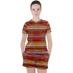 Abstract Stripes Color Game Women s Tee And Shorts Set by Sapixe