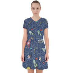 Cat Cosmos Cosmonaut Rocket Adorable In Chiffon Dress by Sapixe