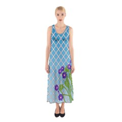 Morning Glory Argyle (blue Sky) Pattern Sleeveless Maxi Dress by emilyzragz