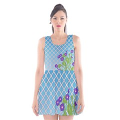 Morning Glory Argyle (blue Sky) Pattern Scoop Neck Skater Dress by emilyzragz