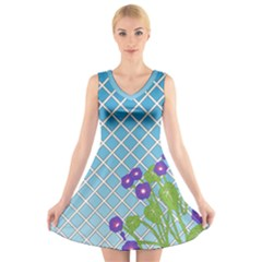 Morning Glory Argyle (blue Sky) Pattern V Neck Sleeveless Dress by emilyzragz