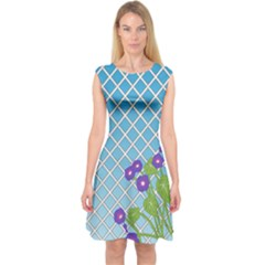 Morning Glory Argyle (blue Sky) Pattern Capsleeve Midi Dress by emilyzragz