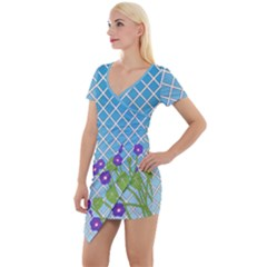 Morning Glory Argyle (blue Sky) Pattern Short Sleeve Asymmetric Mini Dress by emilyzragz