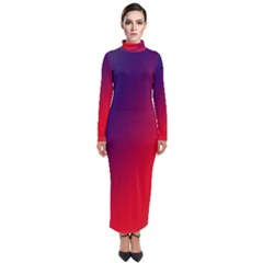 Rainbow Two Background Turtleneck Maxi Dress