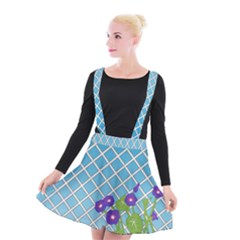Morning Glory Argyle (blue Sky) Pattern Suspender Skater Skirt by emilyzragz