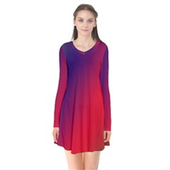 Rainbow Two Background Long Sleeve V Neck Flare Dress