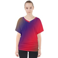 Rainbow Two Background V Neck Dolman Drape Top