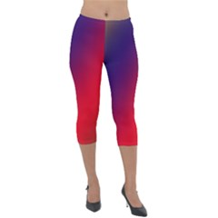 Rainbow Two Background Lightweight Velour Capri Leggings