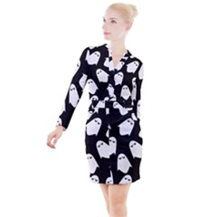 Ghost Halloween Pattern Button Long Sleeve Dress