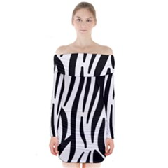 Seamless Zebra A Completely Zebra Skin Background Pattern Long Sleeve Off Shoulder Dress