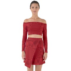 Psychedelic Art Red  Hi Tech Off Shoulder Top With Skirt Set