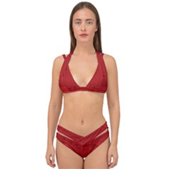 Psychedelic Art Red  Hi Tech Double Strap Halter Bikini Set