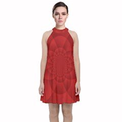 Psychedelic Art Red  Hi Tech Velvet Halter Neckline Dress