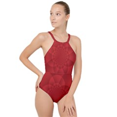 Psychedelic Art Red  Hi Tech High Neck One Piece Swimsuit