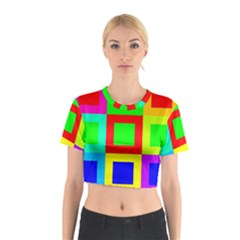 Colors Purple And Yellow Cotton Crop Top
