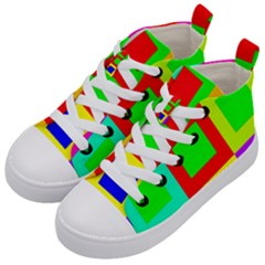 Colors Purple And Yellow Kid s Mid Top Canvas Sneakers by Jojostore