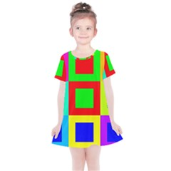 Colors Purple And Yellow Kids  Simple Cotton Dress
