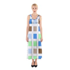 Colorful Green Background Tile Pattern Sleeveless Maxi Dress