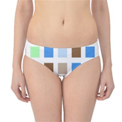 Colorful Green Background Tile Pattern Hipster Bikini Bottoms by Jojostore