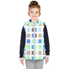 Colorful Green Background Tile Pattern Kid s Hooded Puffer Vest